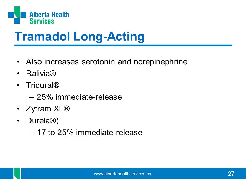 27 Tramadol Long-Acting Also increases serotonin and norepinephrine Ralivia® Tridural® –25% immediate-release Zytram XL® Durela®) –17 to 25% immediate-release