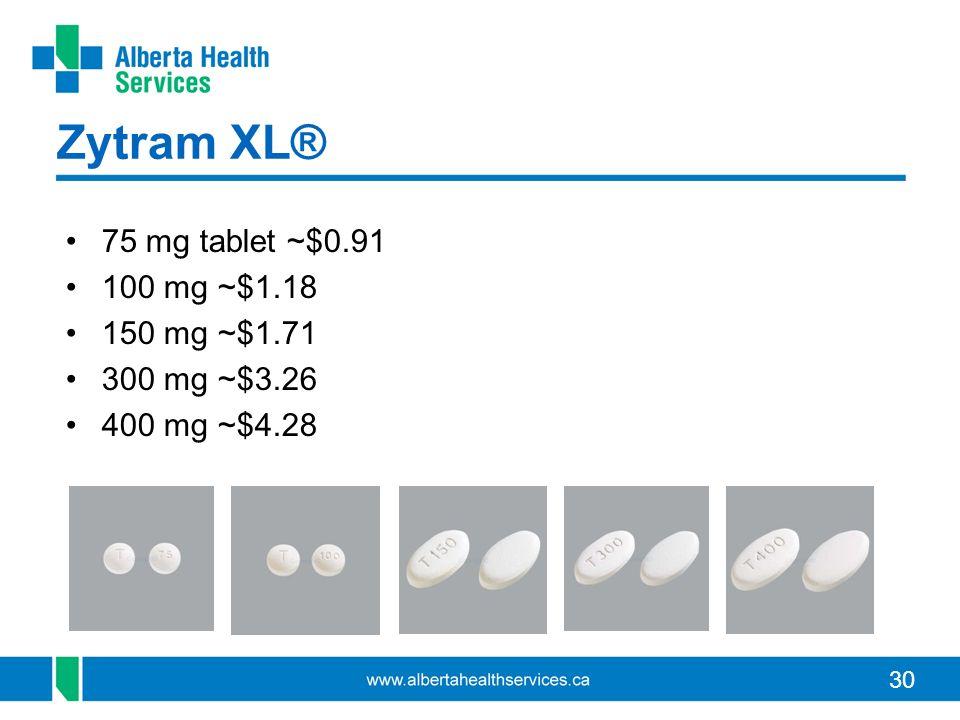 30 Zytram XL® 75 mg tablet ~$0.91 100 mg ~$1.18 150 mg ~$1.71 300 mg ~$3.26 400 mg ~$4.28