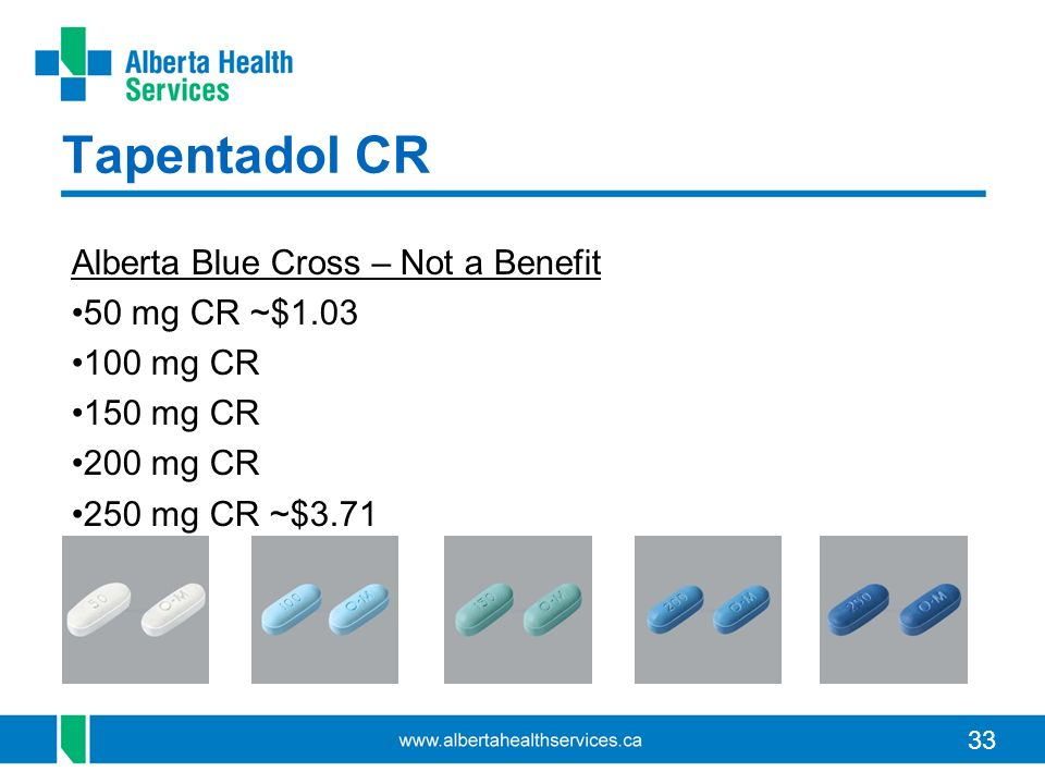 33 Tapentadol CR Alberta Blue Cross – Not a Benefit 50 mg CR ~$1.03 100 mg CR 150 mg CR 200 mg CR 250 mg CR ~$3.71