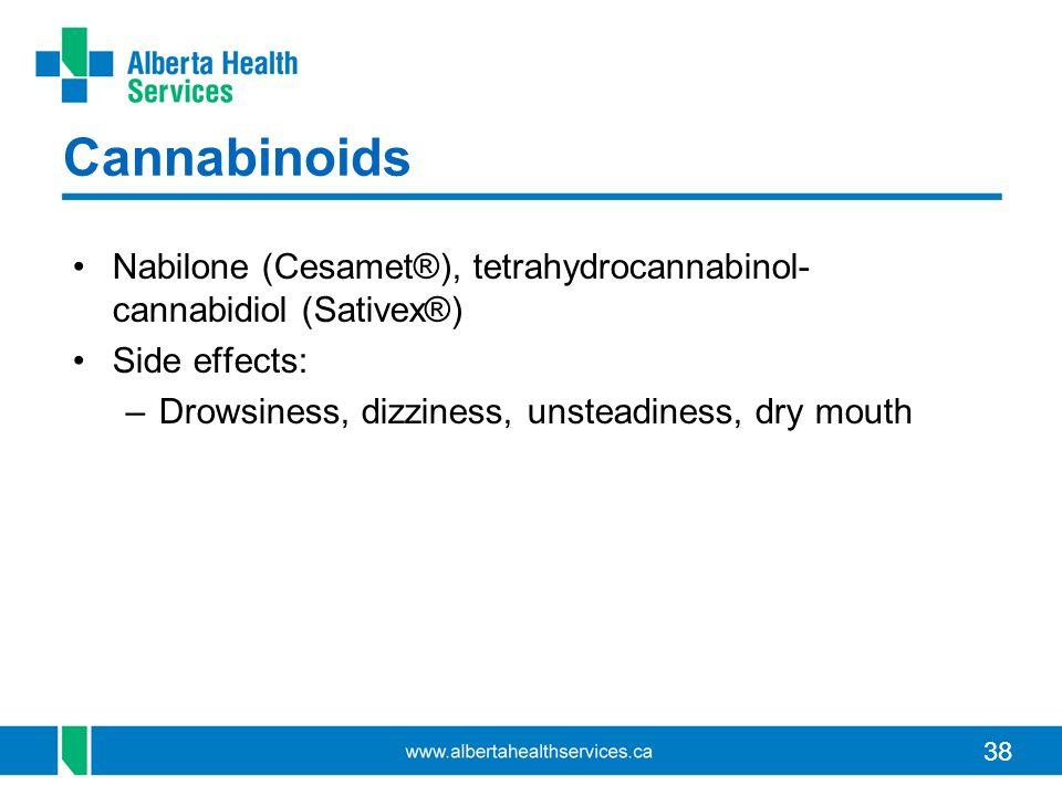 38 Cannabinoids Nabilone (Cesamet®), tetrahydrocannabinol- cannabidiol (Sativex®) Side effects: –Drowsiness, dizziness, unsteadiness, dry mouth