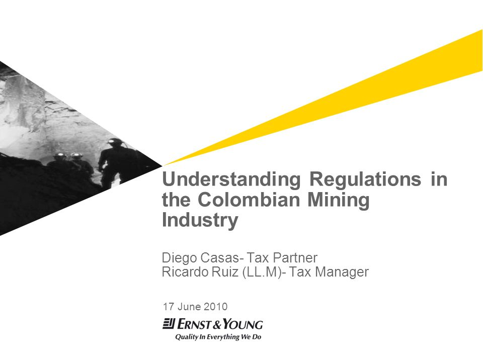 Understanding Regulations in the Colombian Mining Industry Diego Casas- Tax Partner Ricardo Ruiz (LL.M)- Tax Manager 17 June 2010