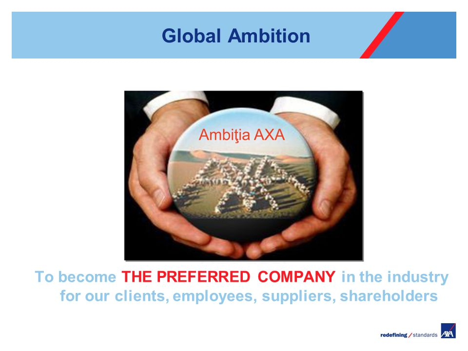 Global Ambition To become THE PREFERRED COMPANY in the industry for our clients, employees, suppliers, shareholders