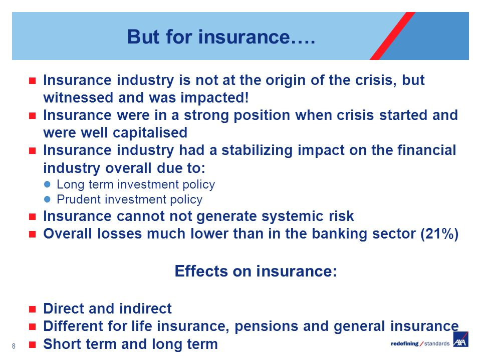 But for insurance…. Insurance industry is not at the origin of the crisis, but witnessed and was impacted! Insurance were in a strong position when cr