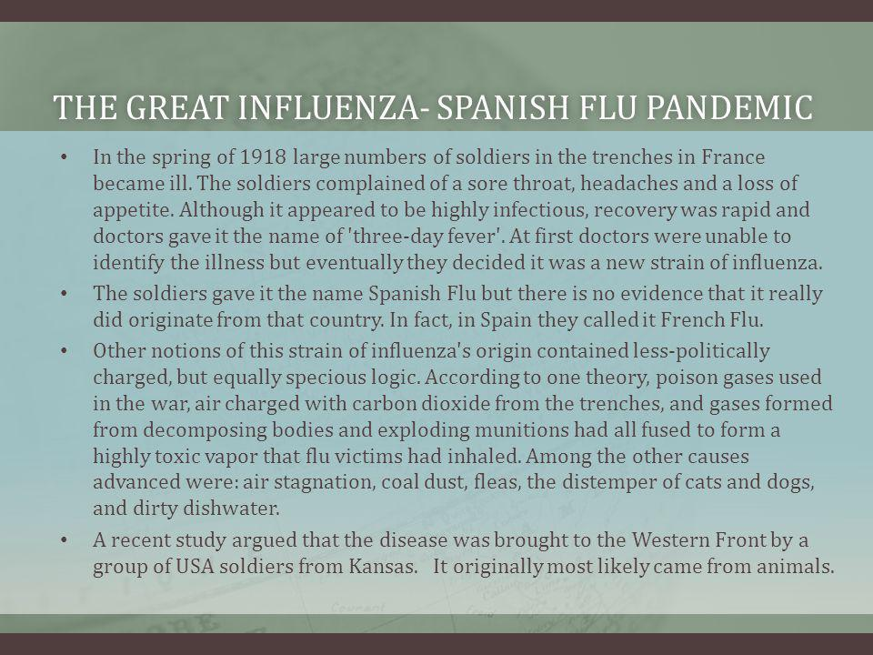 THE GREAT INFLUENZA- SPANISH FLU PANDEMICTHE GREAT INFLUENZA- SPANISH FLU PANDEMIC In the spring of 1918 large numbers of soldiers in the trenches in