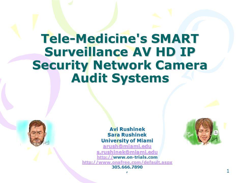Tele-Medicine's SMART Surveillance AV HD IP Security Network Camera Audit Systems Avi Rushinek Sara Rushinek University of Miami arush@miami.edu s.rus