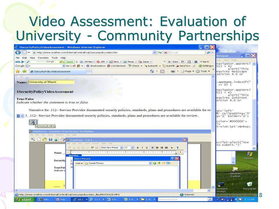 Video Assessment: Evaluation of University - Community Partnerships 18