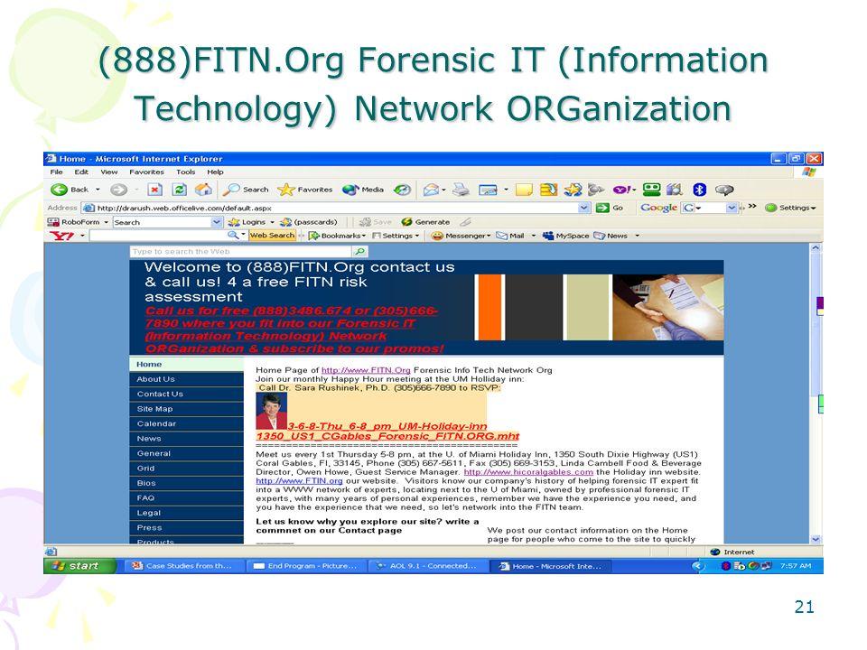 (888)FITN.Org Forensic IT (Information Technology) Network ORGanization 21