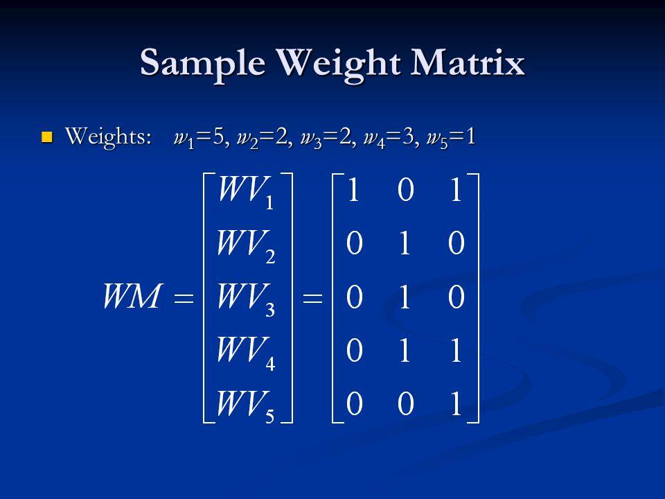 Sample Weight Matrix Weights:w 1 =5, w 2 =2, w 3 =2, w 4 =3, w 5 =1 Weights:w 1 =5, w 2 =2, w 3 =2, w 4 =3, w 5 =1