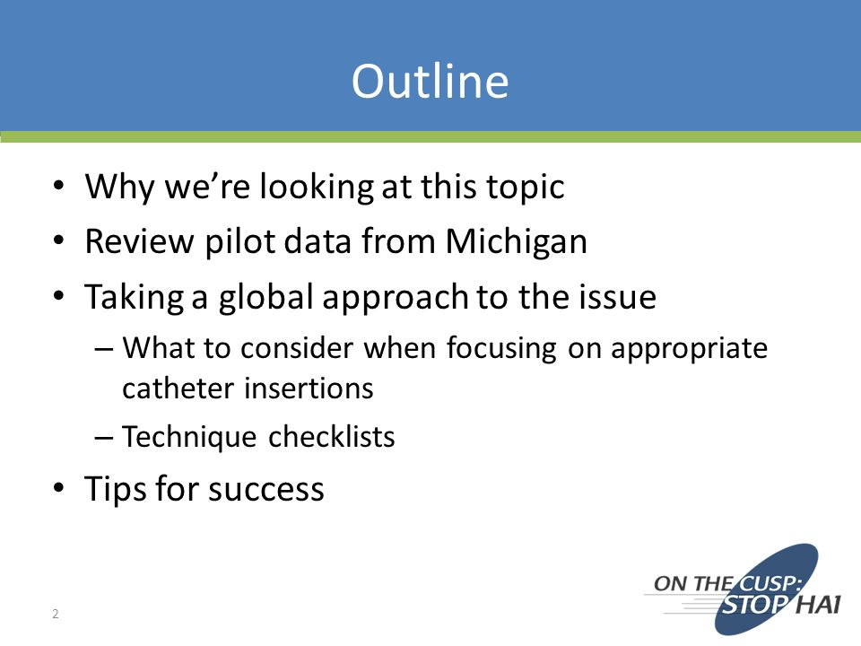 Outline Why were looking at this topic Review pilot data from Michigan Taking a global approach to the issue – What to consider when focusing on appro