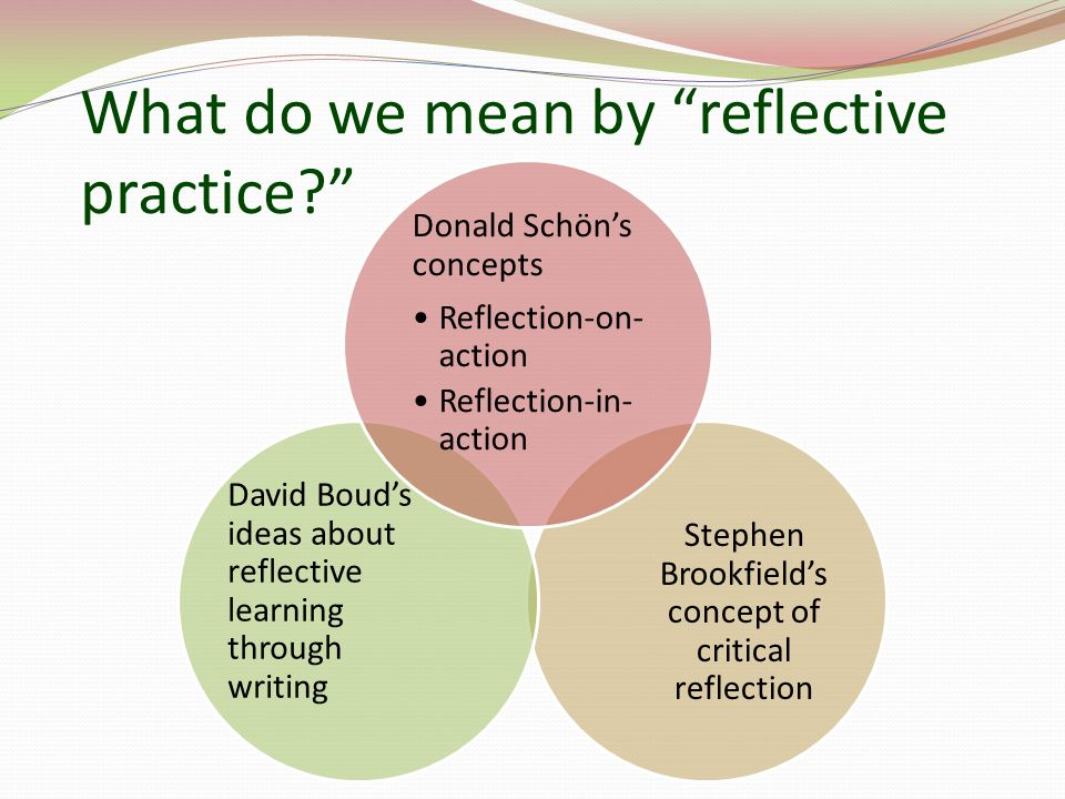 What do we mean by reflective practice.