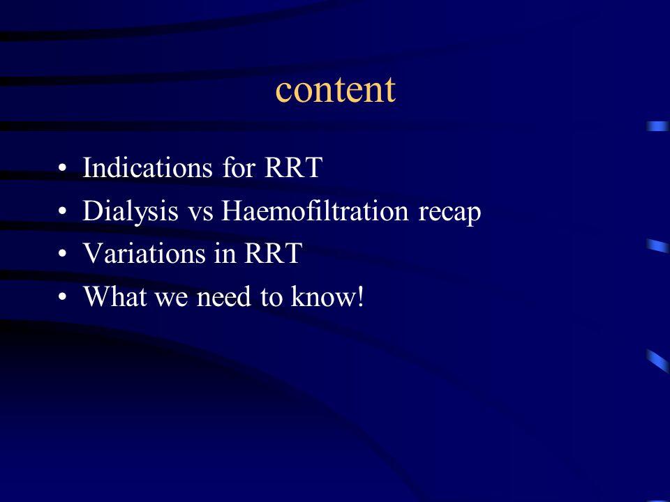 Indications for RRT Uraemia Acidosis Fluid overload Hyperkalaemia Pericarditis