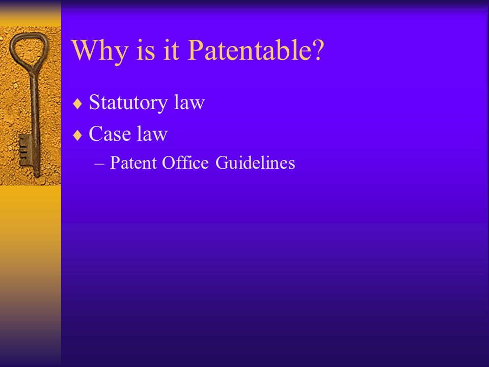 Why is it Patentable? Statutory law Case law –Patent Office Guidelines