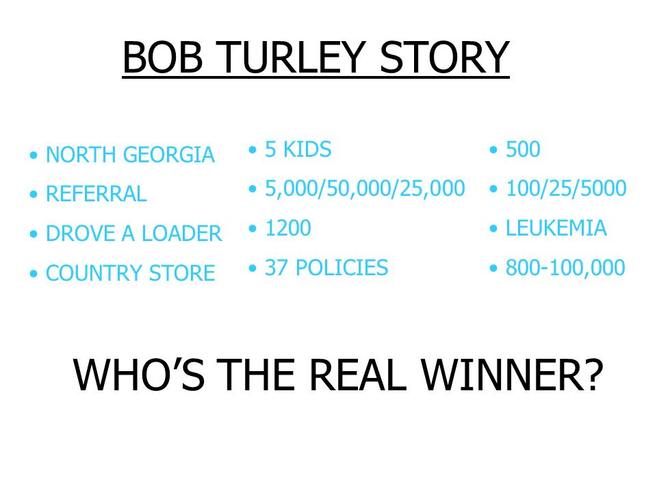 BOB TURLEY STORY NORTH GEORGIA REFERRAL DROVE A LOADER COUNTRY STORE 5 KIDS 5,000/50,000/25,000 1200 37 POLICIES 500 100/25/5000 LEUKEMIA 800-100,000