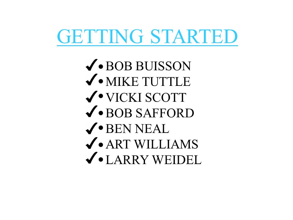 GETTING STARTED BOB BUISSON MIKE TUTTLE VICKI SCOTT BOB SAFFORD BEN NEAL ART WILLIAMS LARRY WEIDEL · · · · · · ·