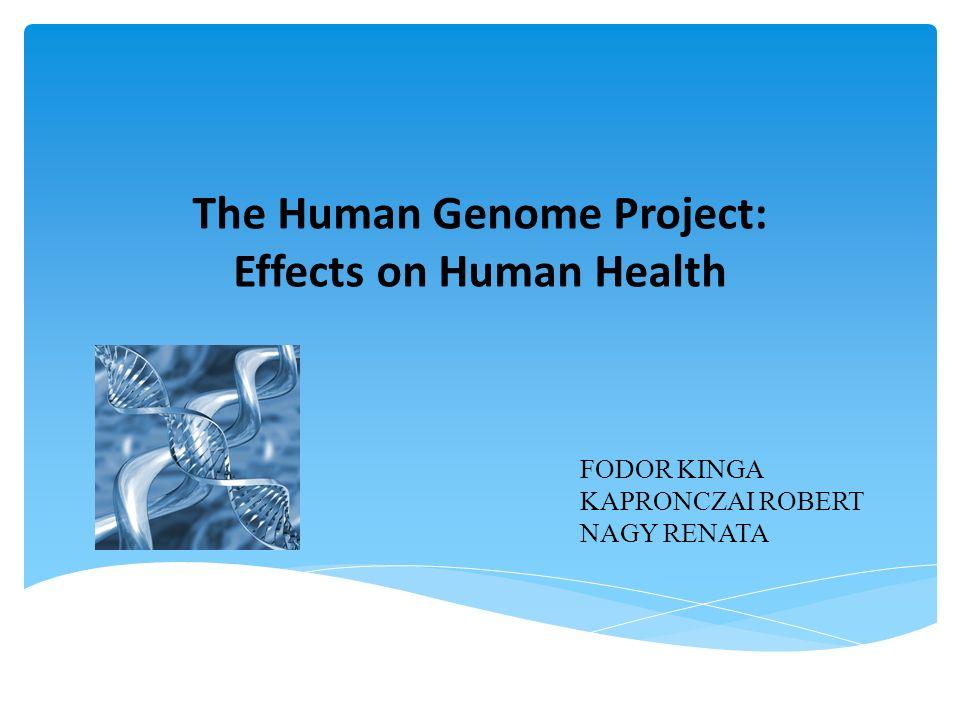 The Human Genome Project: Effects on Human Health FODOR KINGA KAPRONCZAI ROBERT NAGY RENATA