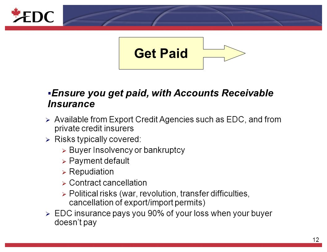 12 Get Paid Available from Export Credit Agencies such as EDC, and from private credit insurers Risks typically covered: Buyer Insolvency or bankruptc
