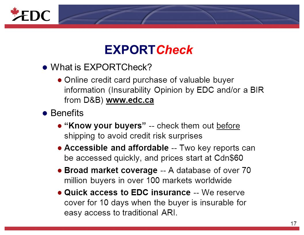 17 EXPORTCheck l What is EXPORTCheck.