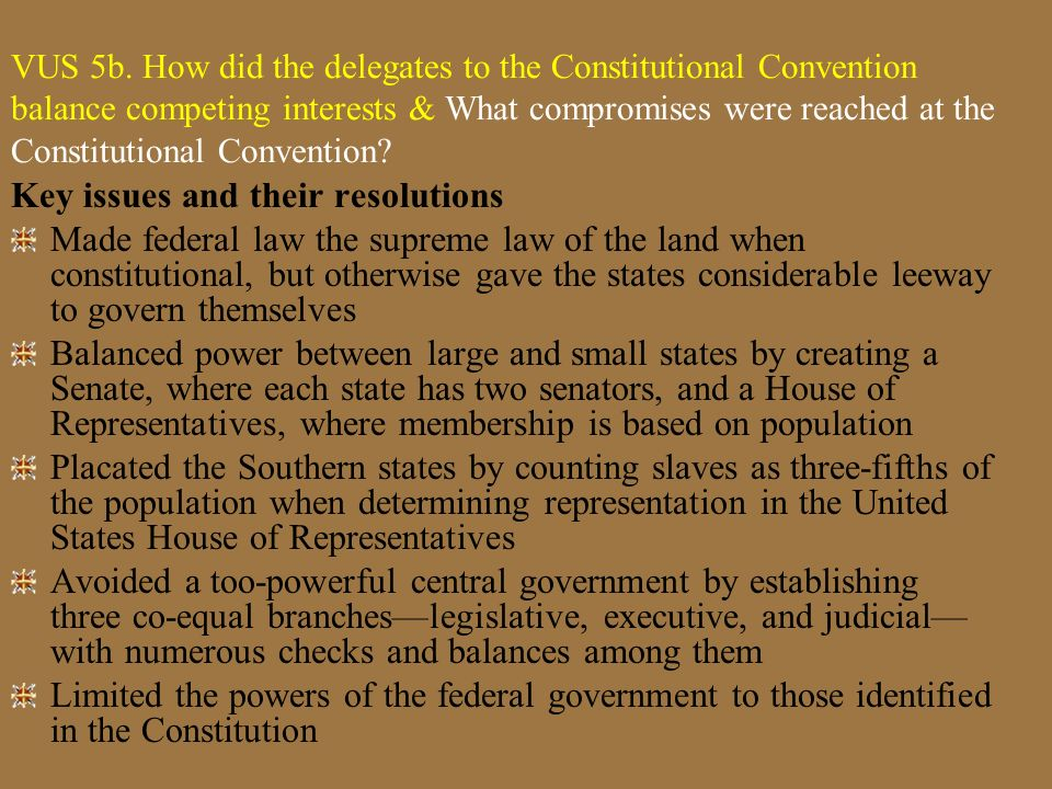 VUS5b Essential Understanding The Constitution of the United States established a government that shared power between the national government and sta