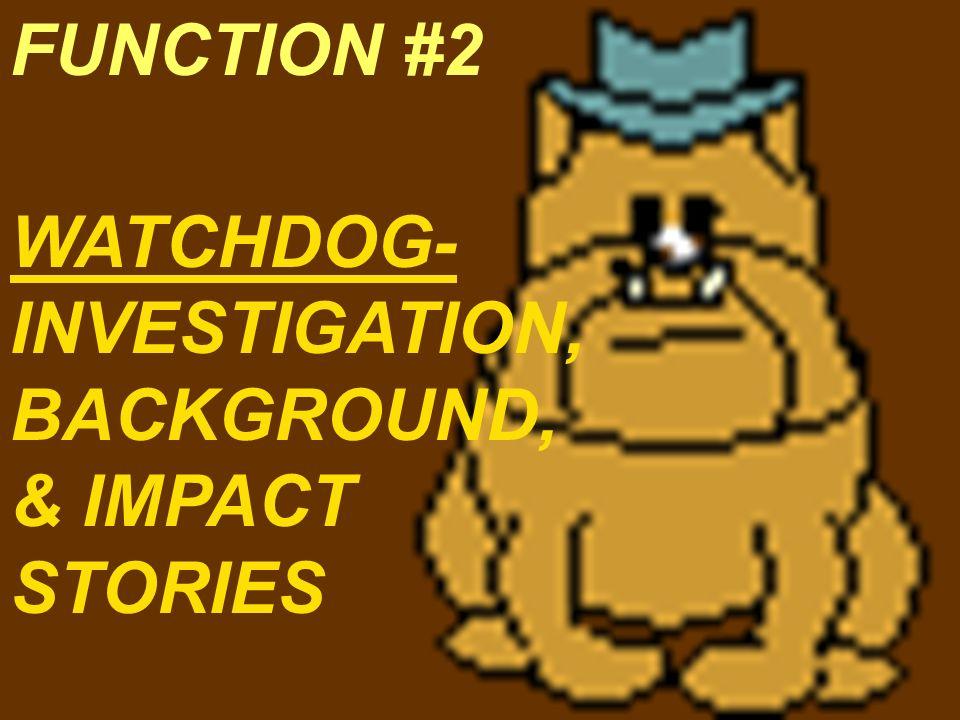 WATCHDOG- INVESTIGATION, BACKGROUND, & IMPACT STORIES FUNCTION #2