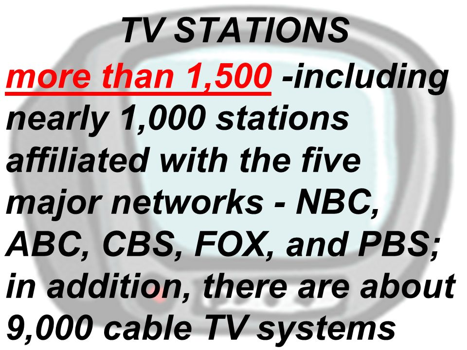 more than 1,500 -including nearly 1,000 stations affiliated with the five major networks - NBC, ABC, CBS, FOX, and PBS; in addition, there are about 9,000 cable TV systems TV STATIONS