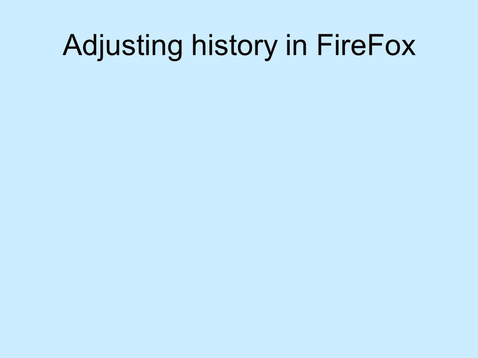 Adjusting history in FireFox
