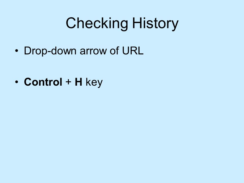 Checking History Drop-down arrow of URL Control + H key