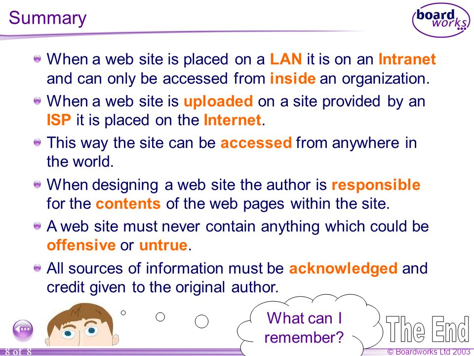 © Boardworks Ltd 2003 8 of 8 Summary When a web site is placed on a LAN it is on an Intranet and can only be accessed from inside an organization.