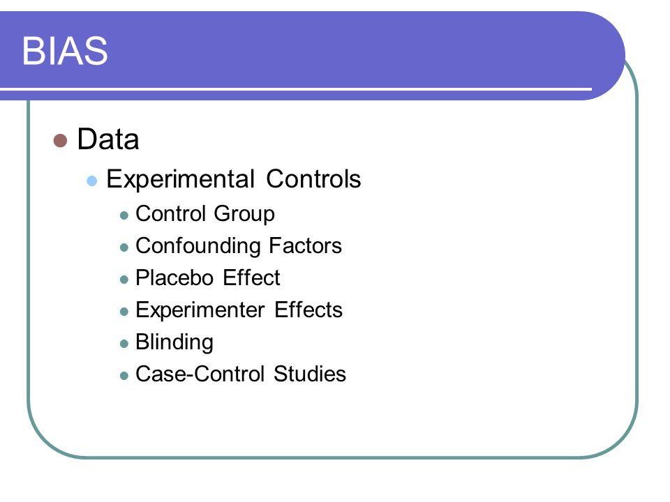 BIAS Data Experimental Controls Control Group Confounding Factors Placebo Effect Experimenter Effects Blinding Case-Control Studies