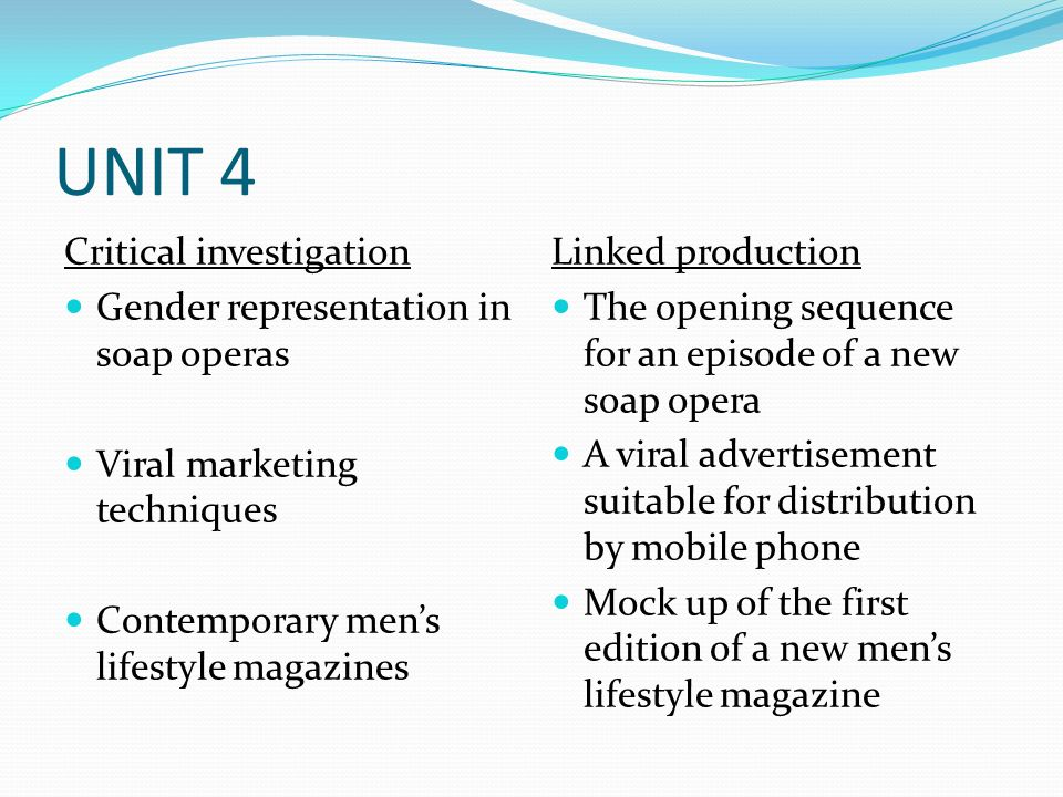 UNIT 4 Critical investigation Gender representation in soap operas Viral marketing techniques Contemporary mens lifestyle magazines Linked production The opening sequence for an episode of a new soap opera A viral advertisement suitable for distribution by mobile phone Mock up of the first edition of a new mens lifestyle magazine