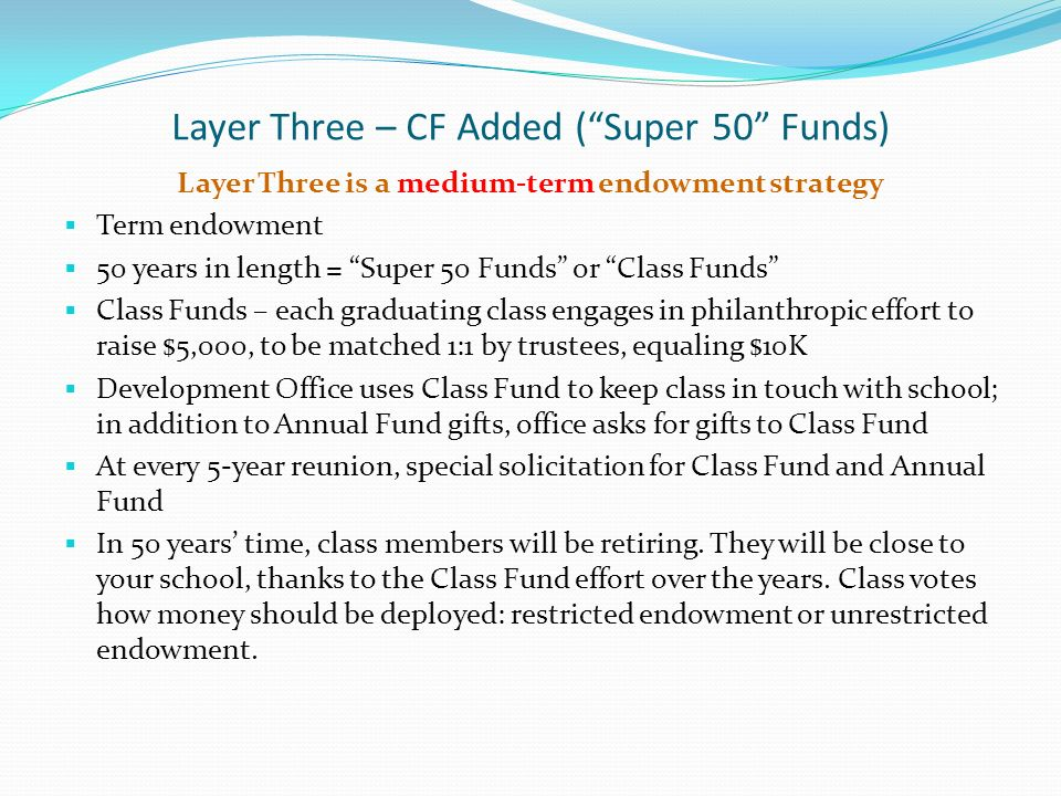 Layer Three – CF Added (Super 50 Funds) Layer Three is a medium-term endowment strategy Term endowment 50 years in length = Super 50 Funds or Class Fu