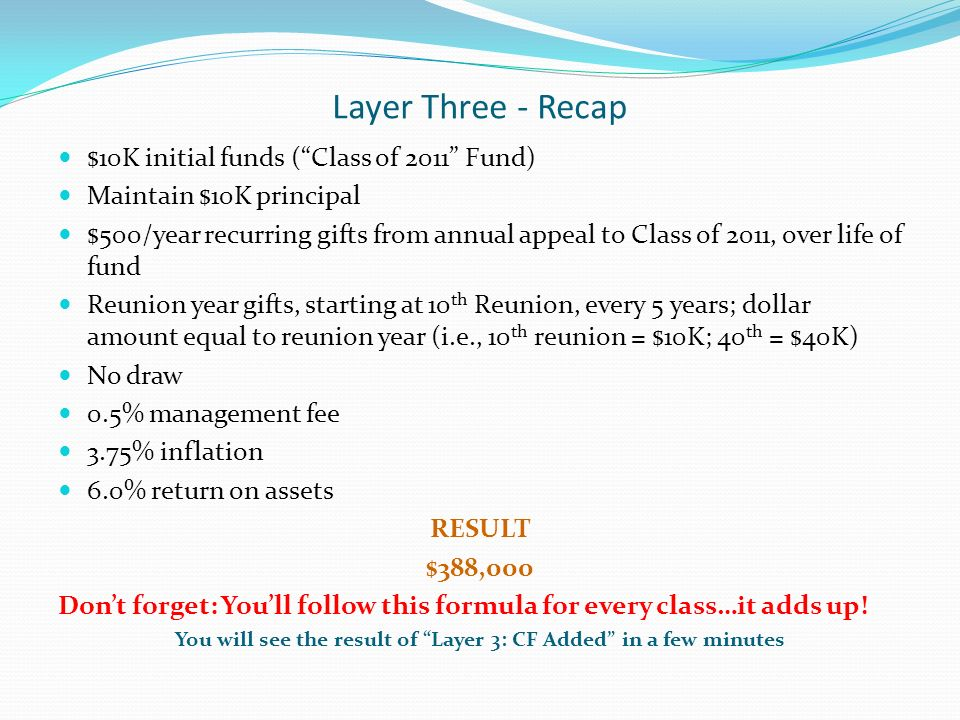 Layer Three - Recap $10K initial funds (Class of 2011 Fund) Maintain $10K principal $500/year recurring gifts from annual appeal to Class of 2011, over life of fund Reunion year gifts, starting at 10 th Reunion, every 5 years; dollar amount equal to reunion year (i.e., 10 th reunion = $10K; 40 th = $40K) No draw 0.5% management fee 3.75% inflation 6.0% return on assets RESULT $388,000 Dont forget: Youll follow this formula for every class…it adds up.