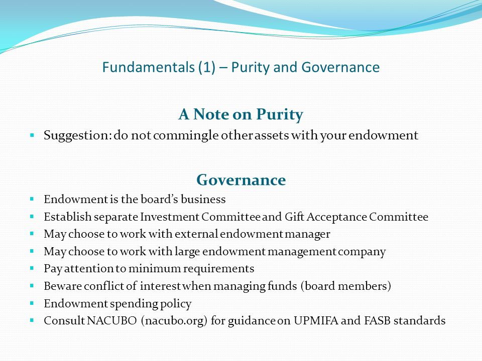 Fundamentals (1) – Purity and Governance A Note on Purity Suggestion: do not commingle other assets with your endowment Governance Endowment is the bo
