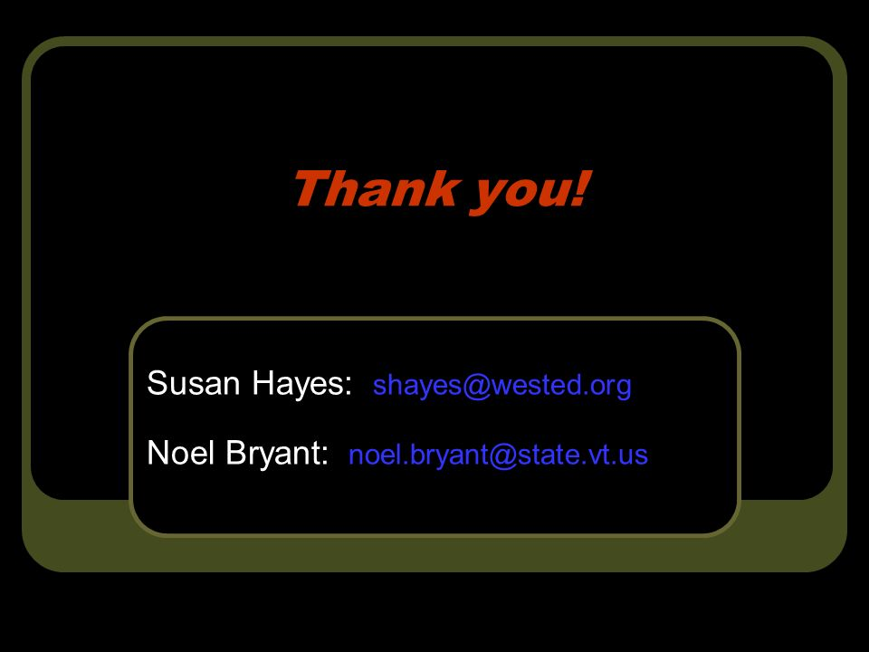 Thank you! Susan Hayes: Noel Bryant: