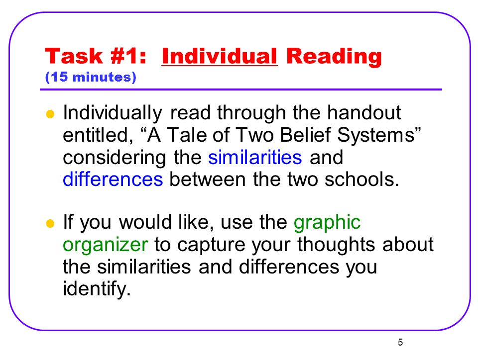 Task #1: Individual Reading (15 minutes) Individually read through the handout entitled, A Tale of Two Belief Systems considering the similarities and differences between the two schools.