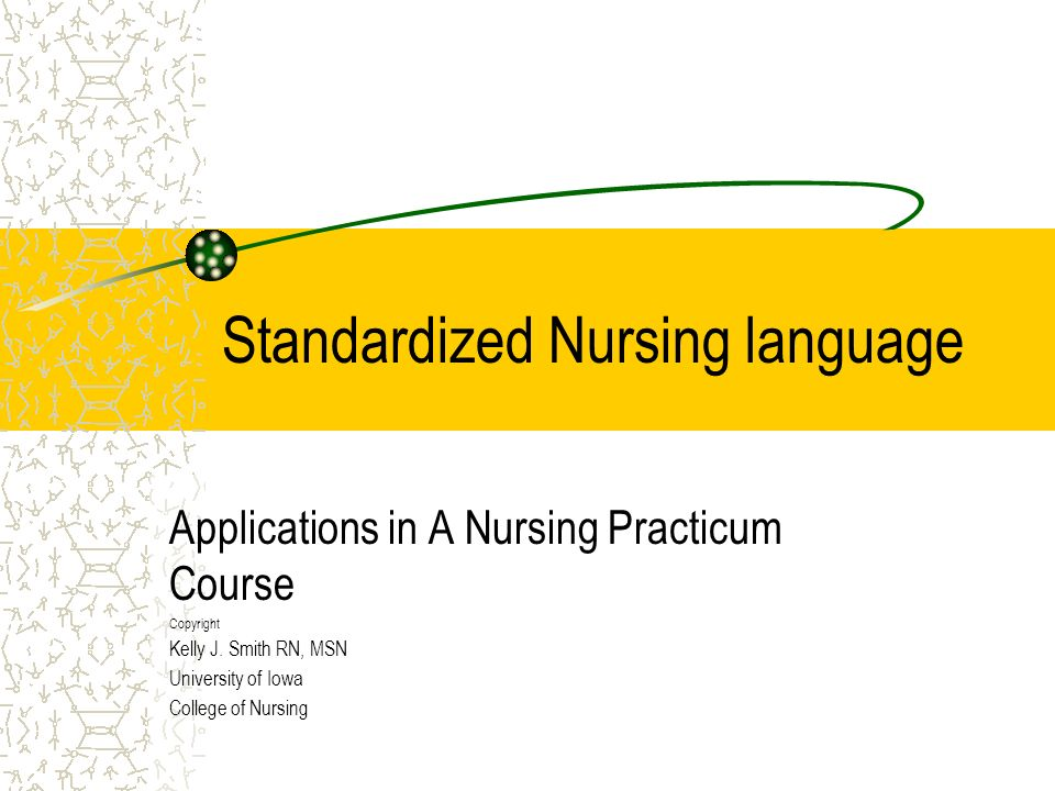 Standardized Nursing language Applications in A Nursing Practicum Course Copyright Kelly J. Smith RN, MSN University of Iowa College of Nursing