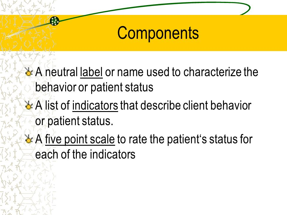 Components A neutral label or name used to characterize the behavior or patient status A list of indicators that describe client behavior or patient s