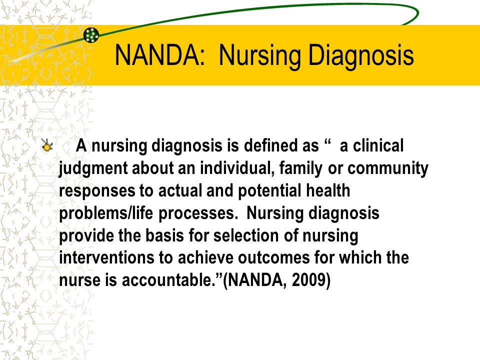 NANDA: Nursing Diagnosis A nursing diagnosis is defined as a clinical judgment about an individual, family or community responses to actual and potent