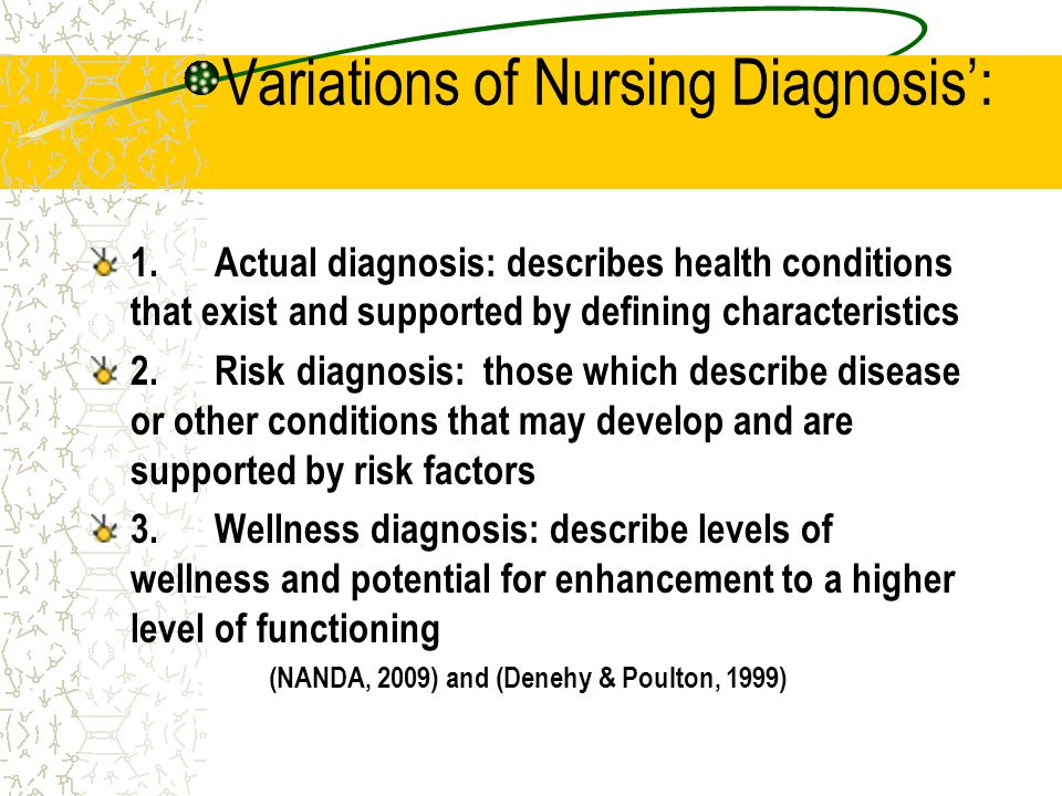 Variations of Nursing Diagnosis: 1. Actual diagnosis: describes health conditions that exist and supported by defining characteristics 2. Risk diagnos