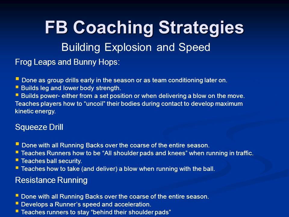 Building Explosion and Speed FB Coaching Strategies Resistance Running Done with all Running Backs over the coarse of the entire season. Develops a Ru