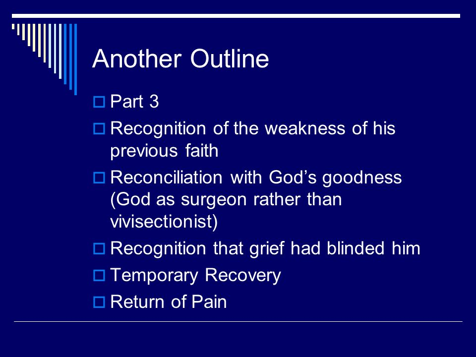 Another Outline Part 3 Recognition of the weakness of his previous faith Reconciliation with Gods goodness (God as surgeon rather than vivisectionist)