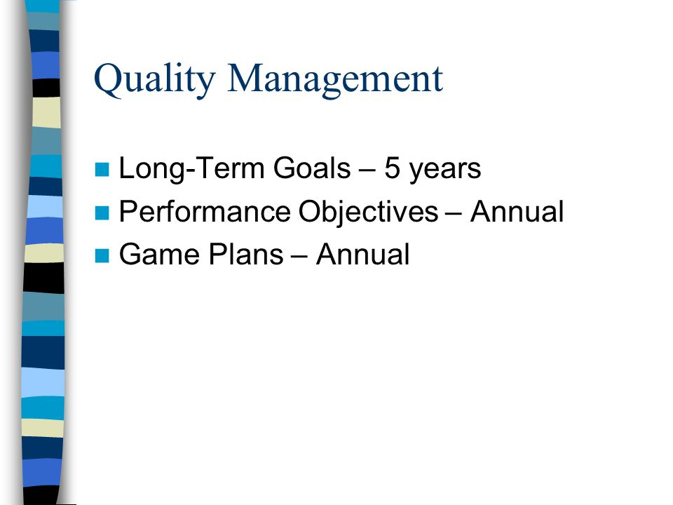 Quality Management Long-Term Goals – 5 years Performance Objectives – Annual Game Plans – Annual