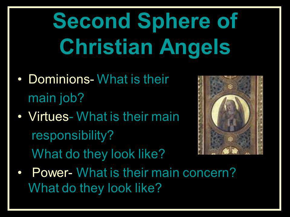 Second Sphere of Christian Angels Dominions- What is their main job? Virtues- What is their main responsibility? What do they look like? Power- What i