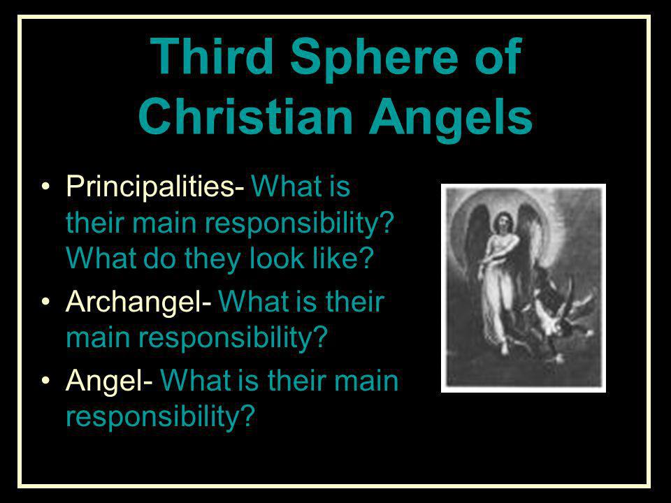 Third Sphere of Christian Angels Principalities- What is their main responsibility? What do they look like? Archangel- What is their main responsibili