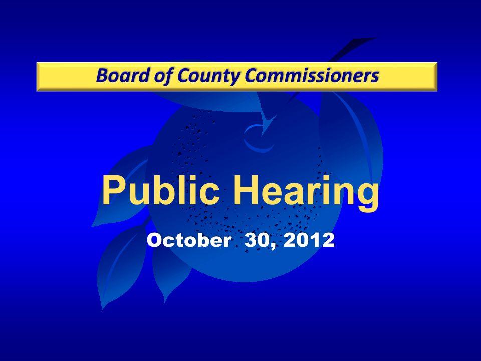 Public Hearing October 30, 2012