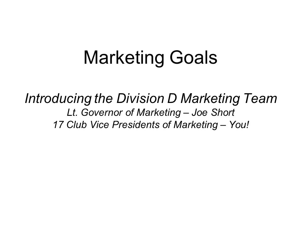 Marketing Goals Introducing the Division D Marketing Team Lt.