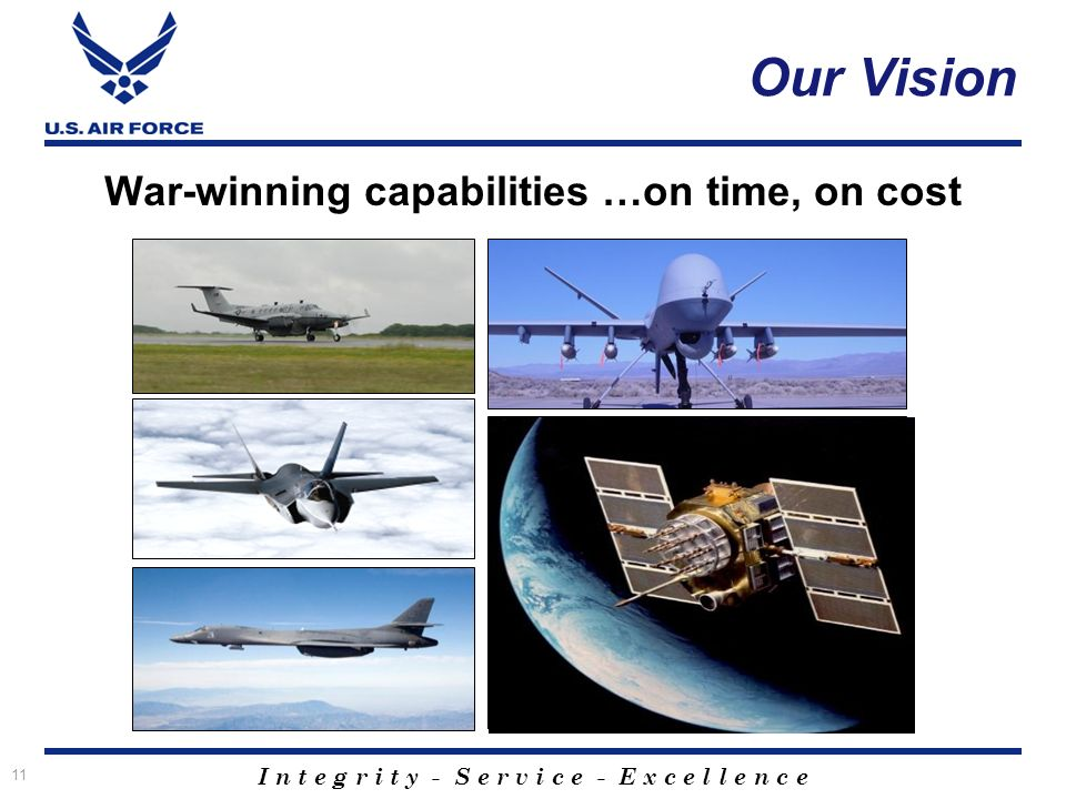I n t e g r i t y - S e r v i c e - E x c e l l e n c e 11 Our Vision War-winning capabilities …on time, on cost