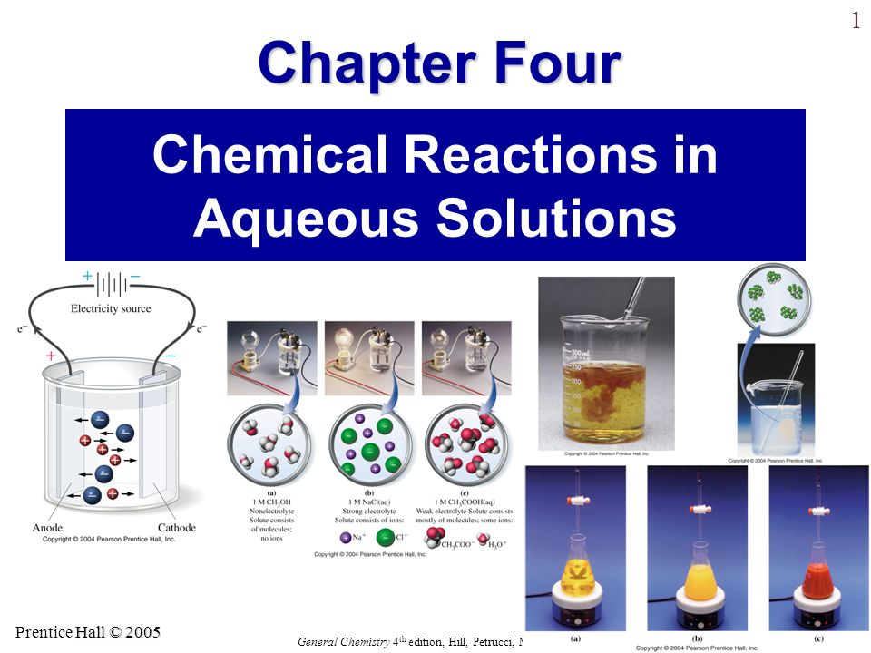 Hall © 2005 Prentice Hall © 2005 General Chemistry 4 th edition, Hill, Petrucci, McCreary, Perry Chapter Four 21 Silver Iodide Precipitation A solution containing silver ions and nitrate ions, when added to … … a solution containing potassium ions and iodide ions, forms … … a precipitate of silver iodide.