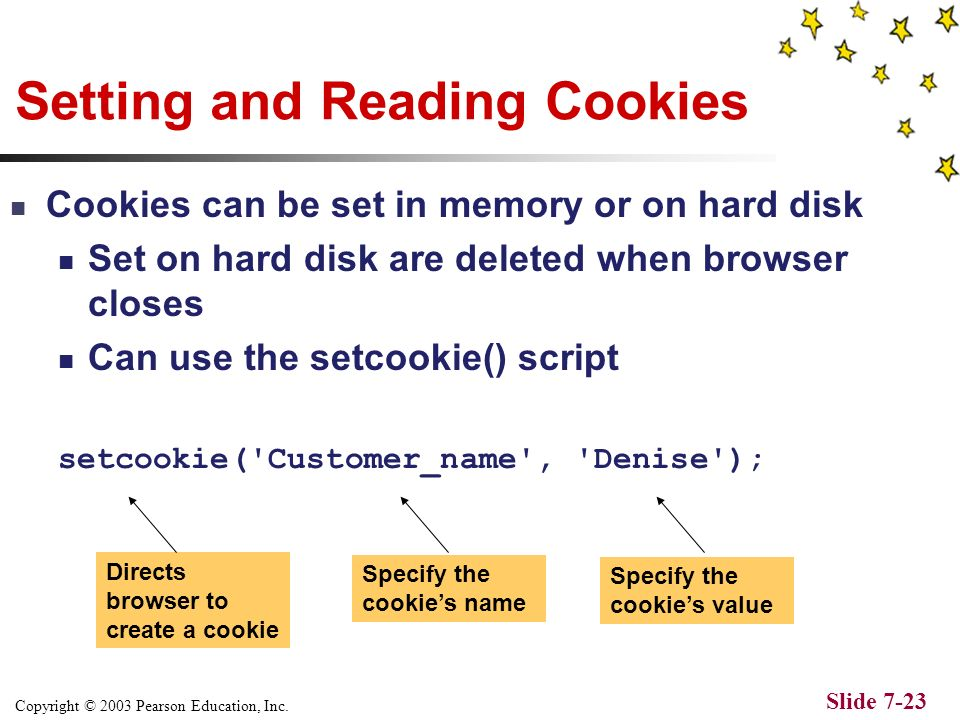 Copyright © 2003 Pearson Education, Inc. Slide 7-22 The disable cookie screen in Netscape