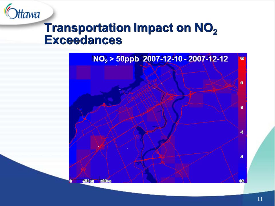 11 Transportation Impact on NO 2 Exceedances NO 2 > 50ppb 2007-12-10 - 2007-12-12