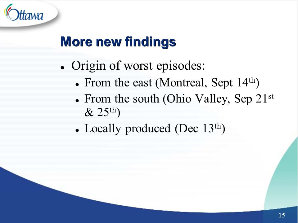 15 More new findings l Origin of worst episodes: l From the east (Montreal, Sept 14 th ) l From the south (Ohio Valley, Sep 21 st & 25 th ) l Locally produced (Dec 13 th )
